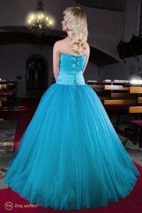 Eny atelier prom princess dress Anna Turquoise
