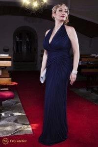 Eny ateliér večerní šaty Monna 20 léta tmavě modrá
