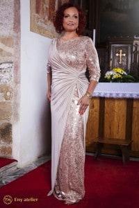 Eny ateliér večerní šaty Irene tělová zlatá 20 léta