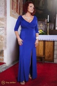 Eny ateliér večerní šaty Irene Blue 20 léta královská modr