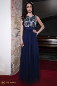 Eny atelier večerní šaty Klára Dark-Blue