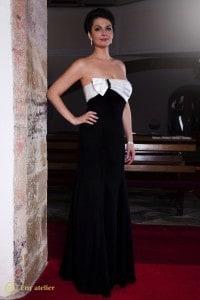 Eny ateliér Petra večerní šaty bílo-černé