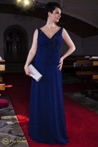 Eny ateliér večerní šaty Petty Dark Lady 20 léta královská modrá výrazná záda zdobení krajka a kamínky