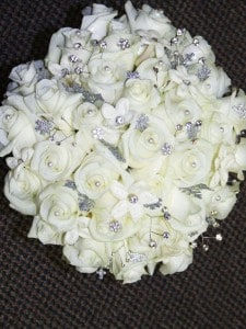 Eny atelier Brides White Roses and Strass Bouquet